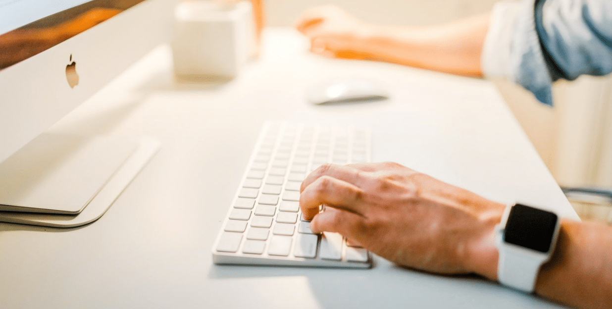 Stock photo of a person using a computer.